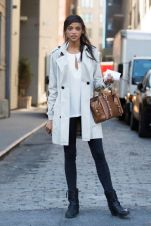 Blouse + Skinny Jeans + Trench Coat + Ankle Booties