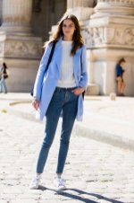 Chunky Knit Sweater + Skinny Jeans + Bright Colored Coat