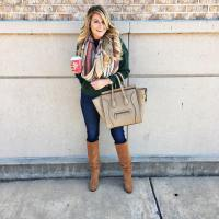 Green Jacket, Camel Leather Tote, Skinny Jeans, Camel Boots & Printed Scarf