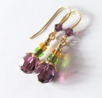 Mardi Gras Earrings Purple Green Gold