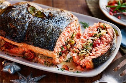 Rice-Stuffed Salmon With Herby Buttermilk Sauce