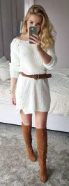 White Knit Dress with Camel Boots & Camel Belt