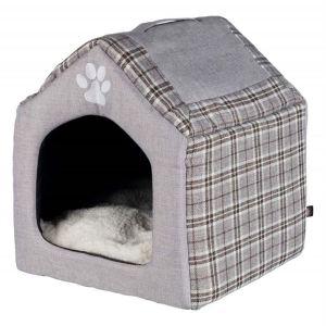 """Домик для котов и маленьких собак """"Silas"""" Trixie серый/кремовый ткань 40х45х40 см."""