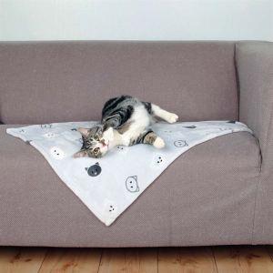 """Коврик-подстилка для котов серый с мордочками """"Mimi"""" Trixie плюш 70х50 см."""
