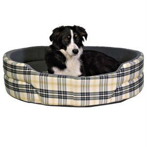 """Лежак для собак """"Lucky"""" Trixie бежевый/серый в клеточку, хлопок/флисовая отделка"""