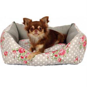 """Лежак для собак """"Rose"""" Trixie серый/белый с розами, брезент/полиэстер"""