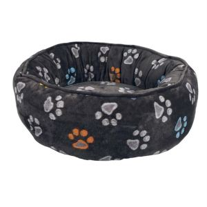 """Лежак круглый для котов и собак """"Jimmy"""" Trixie серый с лапками плюш"""