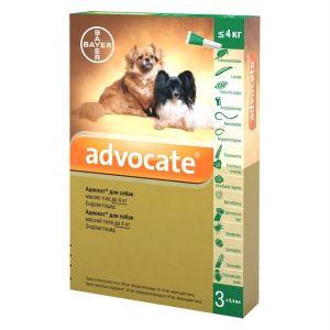 Адвокат капли от заражений эндо и экто паразитами для собак (до 4 кг) Bayer Advocate