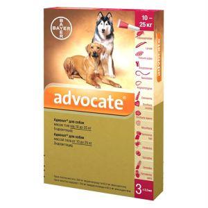Адвокат капли от заражений эндо и экто паразитами для собак (от 10 до 25 кг) Bayer Advocate
