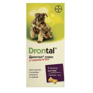 Дронтал плюс - таблетки от гельминтов (глистов) для собак со вкусом мяса Bayer Drontal