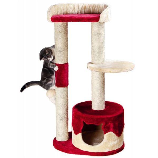 """Дряпка для кошек """"Pilar"""" Trixie бежевая/красная 100 см."""