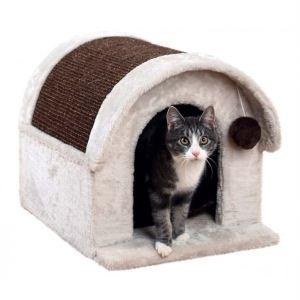 """Дряпка-дом для кошек """"Arlo"""" Trixie светло-серая/коричневая 40х40х45 см."""