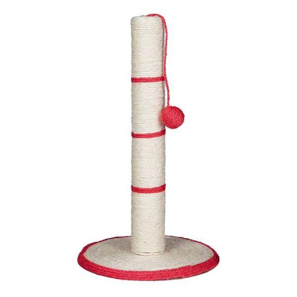 Дряпка-столбик с игрушкой на веревочке для кошек Trixie бирюзовая, красная, чёрная, синяя 50 см.