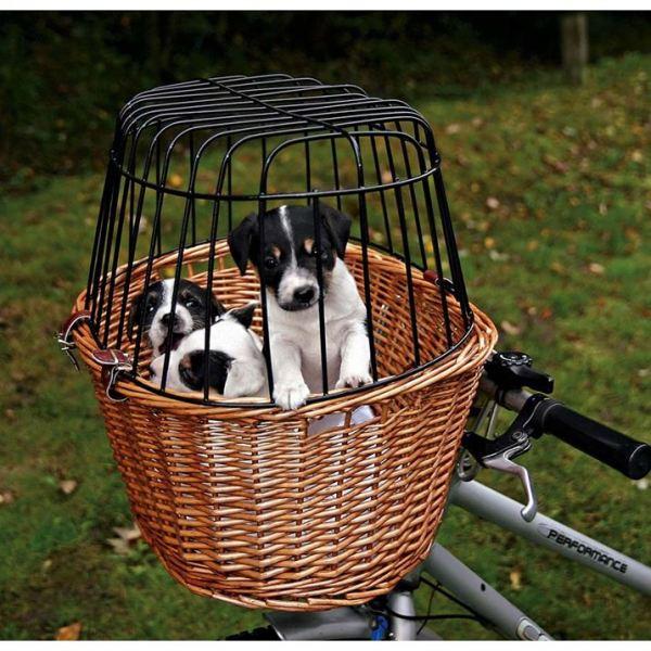 Сумка-корзина ивовая с решеткой для велосипеда Trixie 44 x 48 x 33 см. (до 8 кг.)