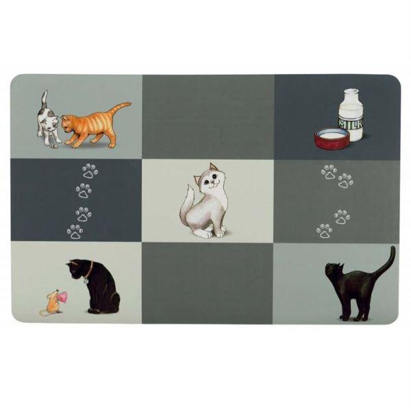 "Коврик под миски для кошек Trixie ""Patchwork"" серый 44 х 28 см."