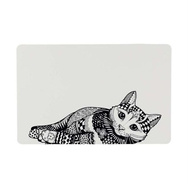"""Коврик под миски для кошек Trixie """"Zentangle"""" белый/черный 44 х 28 см."""