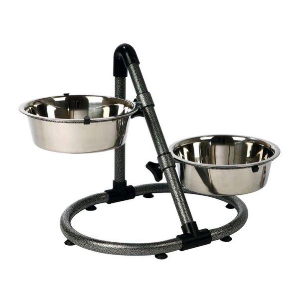 Подставка-стойка на круглом основании с мисками для собак Trixie 2 миски x 2,8 л./24 см., h=38 см.