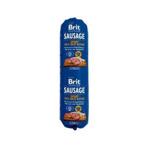 Консервы для активных собак Brit Premium Dog Sausage Sport BEEF & FISH колбаса с говядиной и рыбой 800 гр.