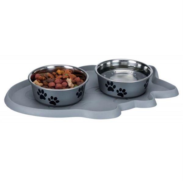 "Коврик под миски для кошек ""Рыбка"" Trixie резина, серый 35×22 см."