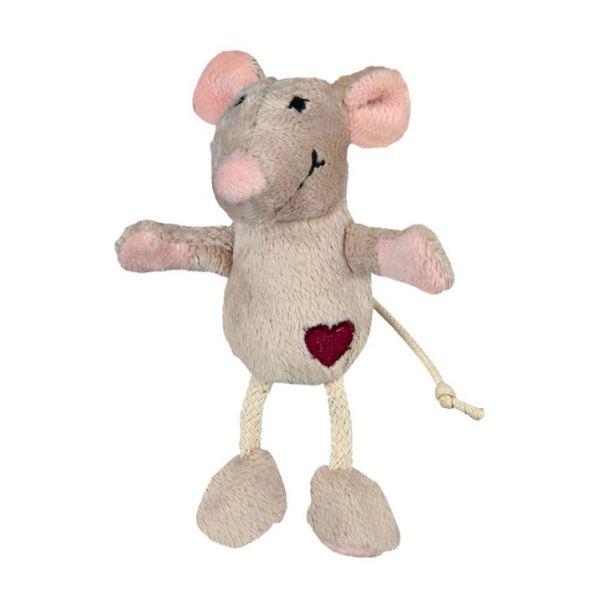Игрушка для кошек Мышка бежевая с сердцем Trixie плюш 11 см.