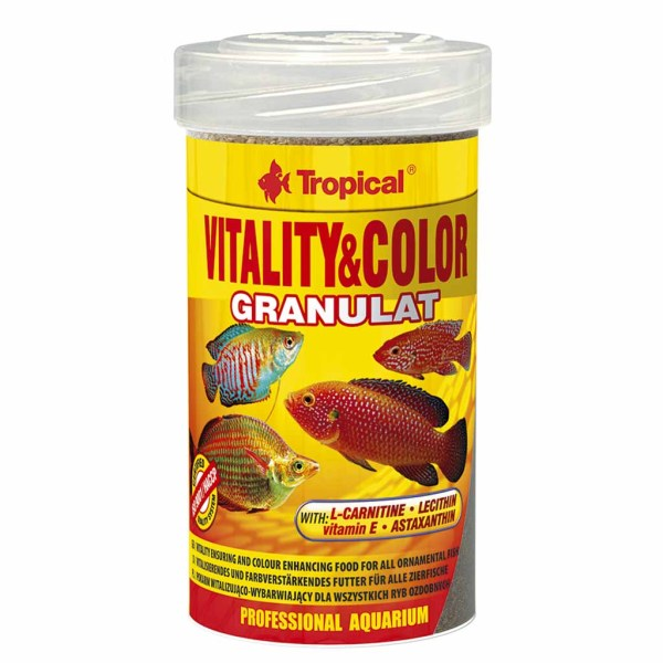 Сухой корм для аквариумных рыб в гранулах Tropical Vitality & Color Granulat (для всех видов рыб) 100 мл.