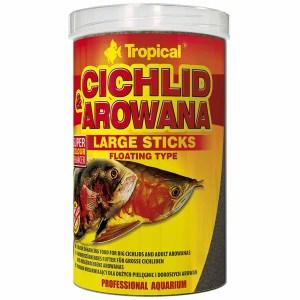 Сухой корм для аквариумных рыб в палочках Tropical Cichlid & Arowana Large Sticks (для плотоядных цихлид) 1 л.