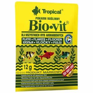 Сухой корм для аквариумных рыб в хлопьях Tropical Bio-Vit (для травоядных рыб) 12 гр.