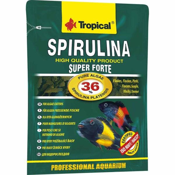Сухой корм для аквариумных рыб в хлопьях Tropical Super Spirulina Forte (для травоядных рыб) 12 гр.