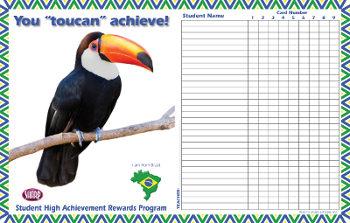 Attendance Calendar for Brazil shows a toucan, map and flag of Brazil.
