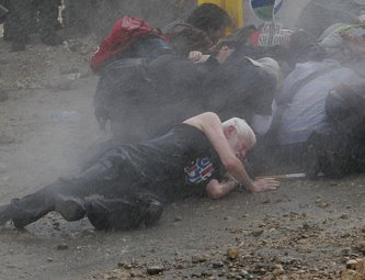Attacked by water cannon, Bil'in, 2007