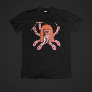 Otto, Octopus Drummer - Black T-Shirt