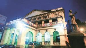The heritage structure stands, elegant and serene, despite the everyday mundaneness of the discount sales and exhibitions hosted in the hall. Express Photo by Nirmal Harindran