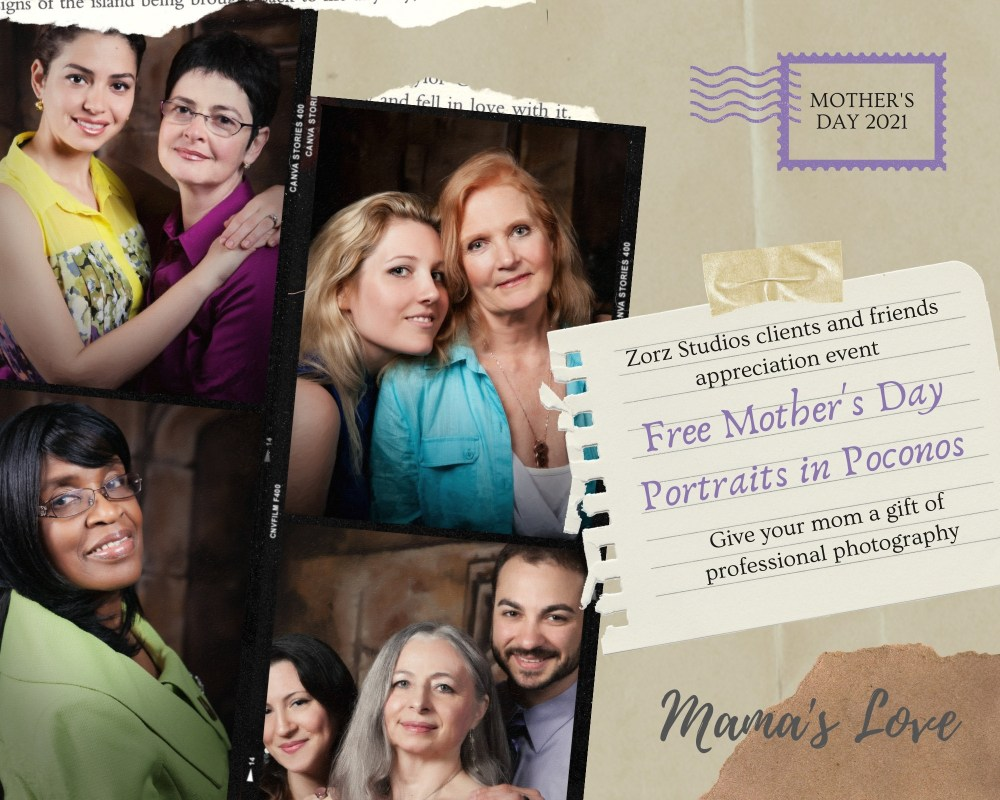 Free Mother's Day Portraits in Poconos by Zorz Studios