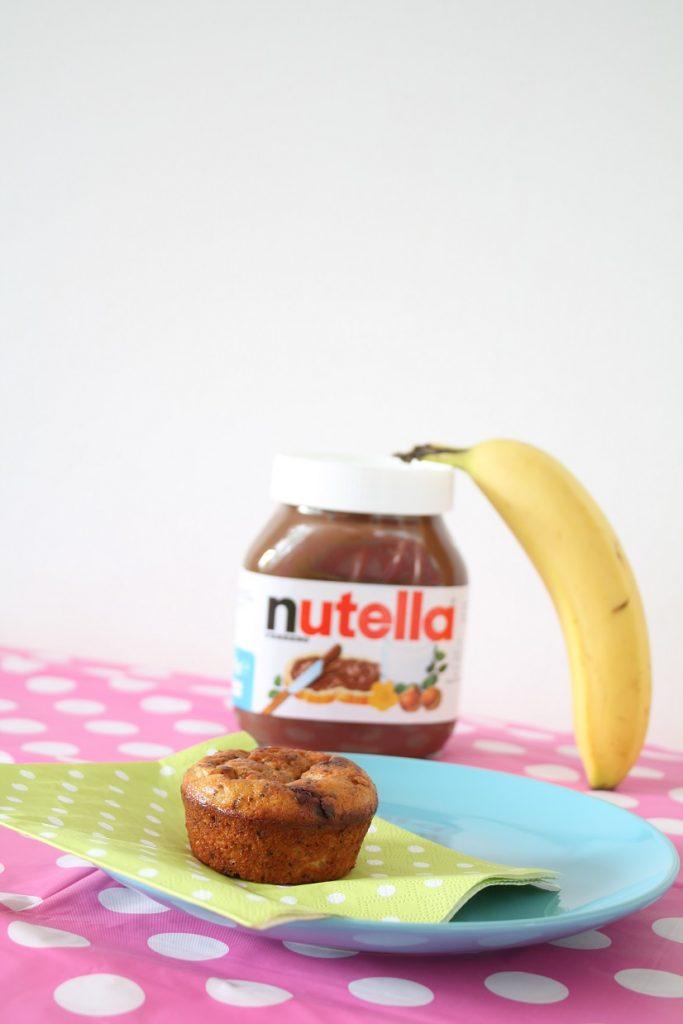 Muffins met Nutella en banaan recept