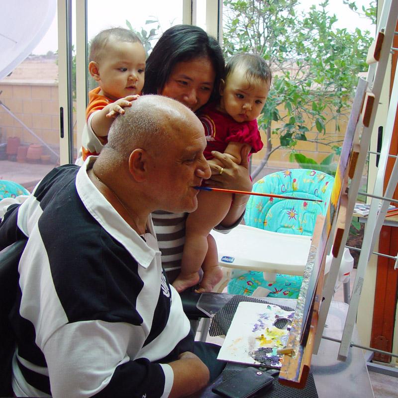 Κυριάκος Κυριακού, Ζωγραφική με το στόμα και το πόδι