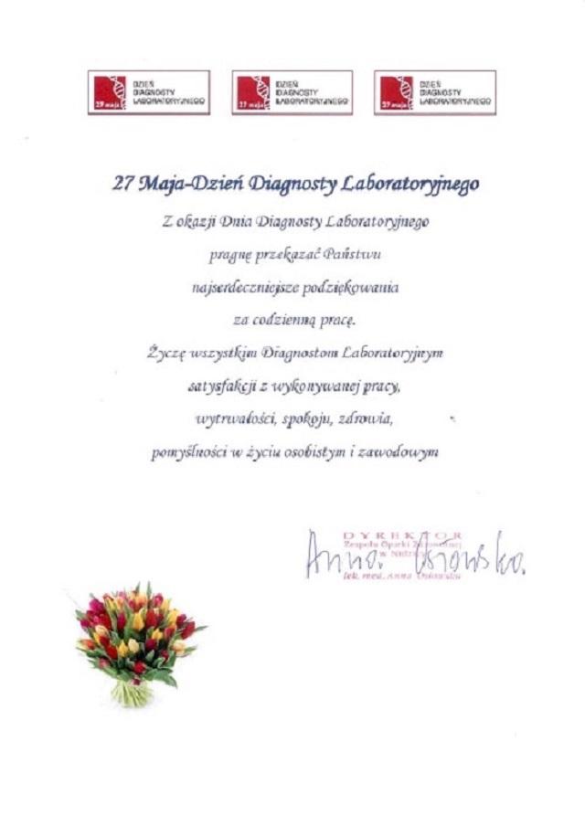 27 Maja -Dzień Diagnosty Laboratoryjnego