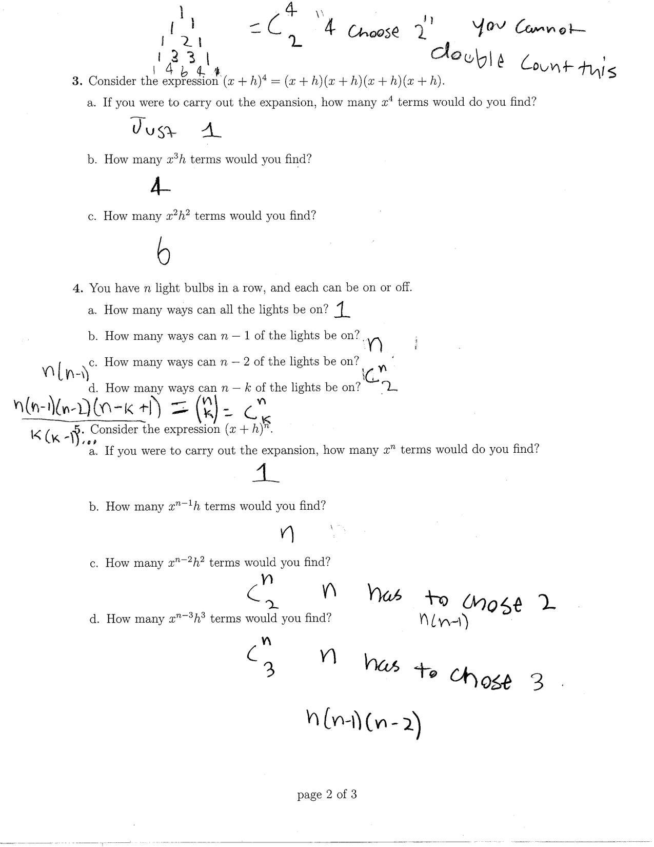 Expanding Binomials Using Pascals Triangle Worksheet