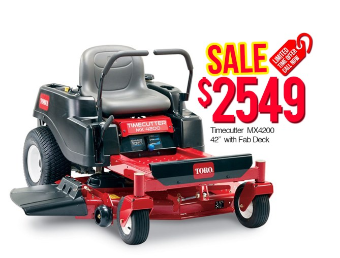 "Toro 74765 Time Cutter MX4200 42"" with Fab Deck $2549"