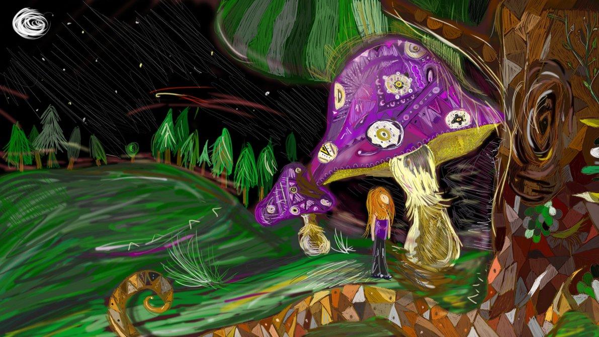 Digitální malba zrzavé holky v noci v zalesněné krajině, roste nad ní obrovská houba s detailním fialovým kloboukem.