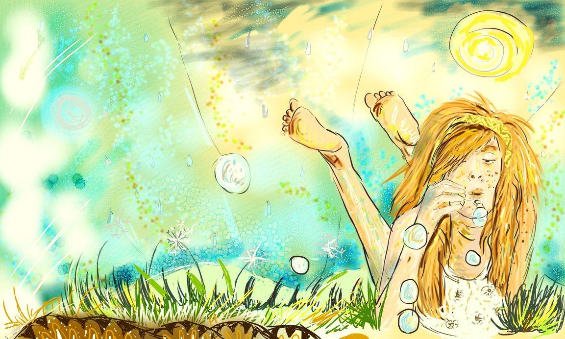 Digitální malba zrzavé holky s pihama a bublifukem, - leží v trávě a fouká bubliny.
