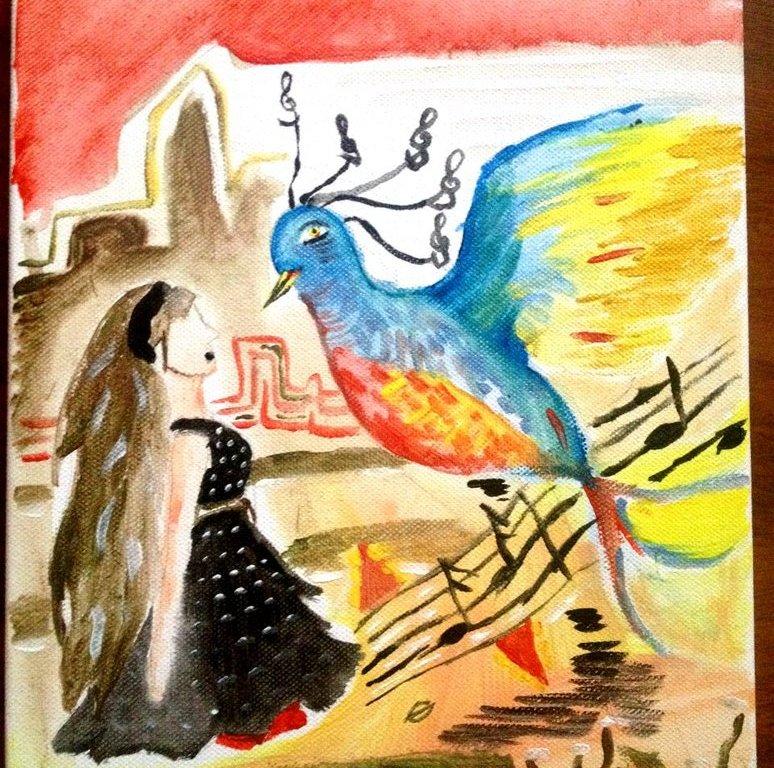 Malba na plátně - tmavovlasá dívka v černých šatech se dívá na modročerveného obrovského ptáčka, který stojí vedle ní a pod ním se line notová osnova.
