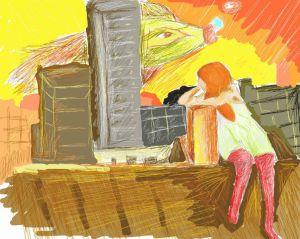 Zrzavá holka sedící na střeše domu. za ní je žlutorudé nebe, západ slunce, přes mrakodrapy vzadu přelétává obrovská zelená ryba.