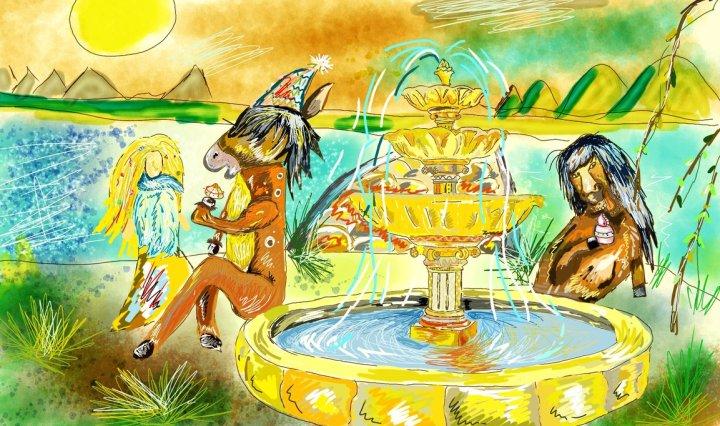 Malba připomínající výjev z Lucy in the Sky - fontána uprostřed louky, kde sedí koňolidé a jedí koláčky.