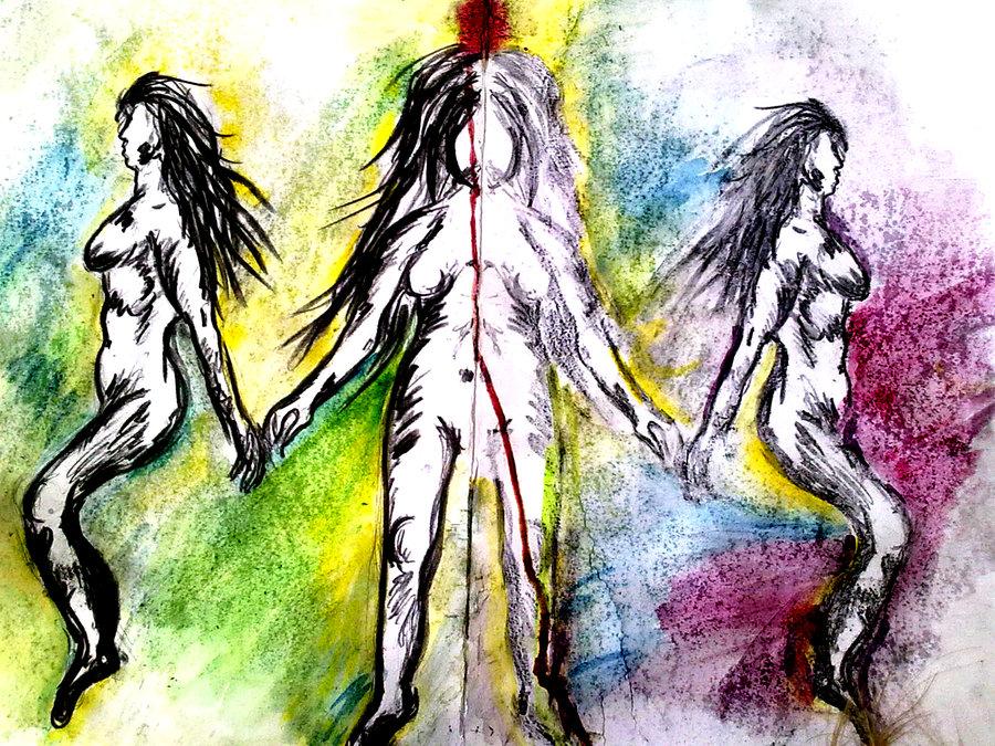 Malba tří žen - aktů uhlem na barevném akvarelovém pozadí