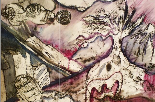 malba suchou jehlou - depresivní černobílá krajina doplněná červenými a modrými detaily.