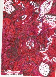 Červenobílý velmi detailní obraz složený z mnoha maličkých prvků, očí, otazníků.