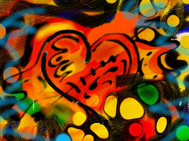Digitální malba červeného srdce s olejovými skvrnami různých barev, které se přes něj prolínají.