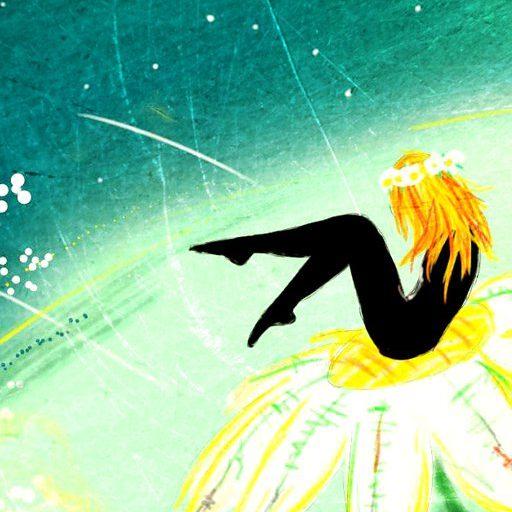 Na obrázku je zrzavá holka a její černá figura, která sedí na sedmikrásce na zeleném pozadí.