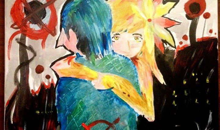 Kresba akryl na plátně, blond křehká dívka otočená k nám objímá modrovlasého pána otočeného zády, pozadí za nimi je černé, jen sem tam červený detail. Na pánovi je namalován červený terč.