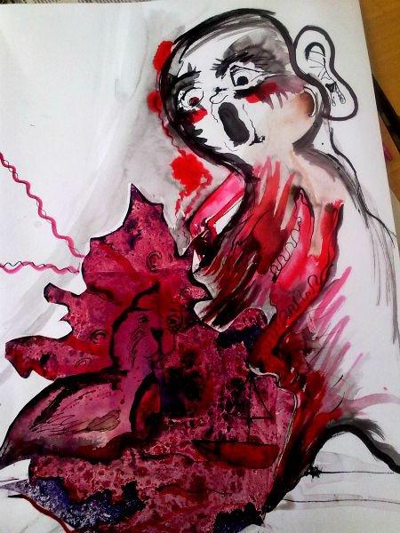 Koláž, která připomíná strašidlo, které natahuje ruce k zvláštnímu kusu nabarveného papíru, na kterém je nakresleno podivné zvíře.